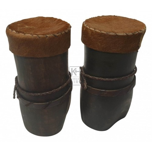 Tall wood pot with skin lid
