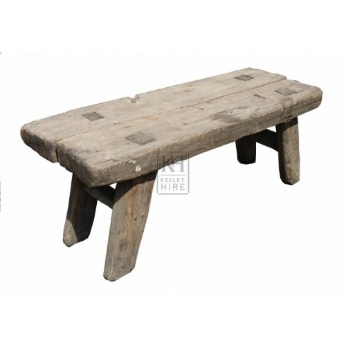Thick wood aged wood bench