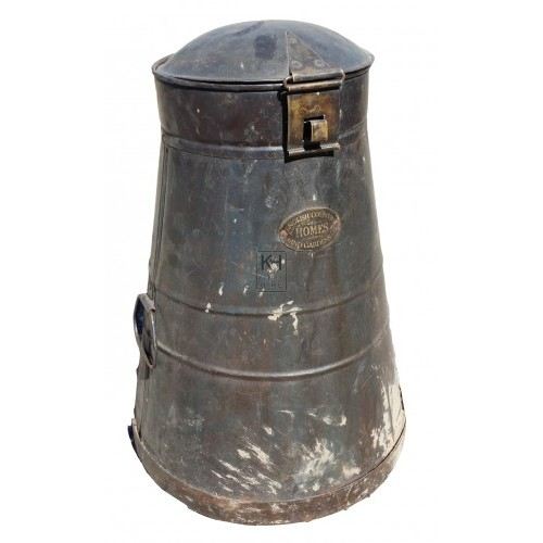 Large black galvanised churn