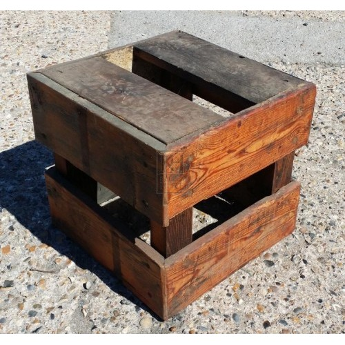 Large slatted wood crate