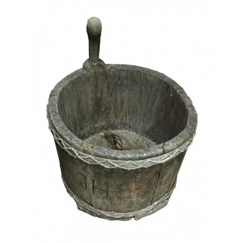 Rope Bound Wooden Bucket with Handle
