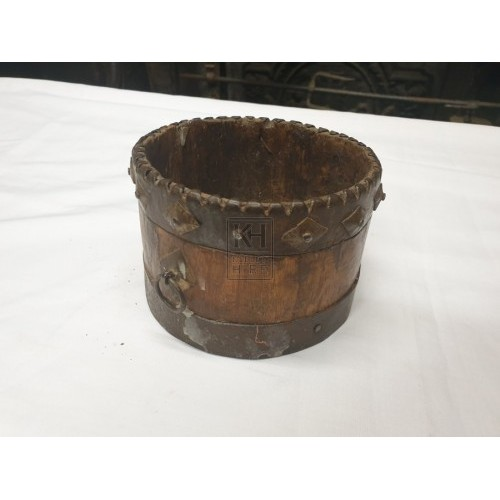 Small Wooden Pot with Metal Top