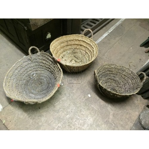 Shallow Woven Basket with 2 Handles