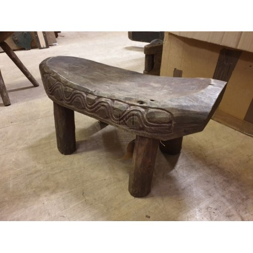 Decoratively Painted Wooden Stool