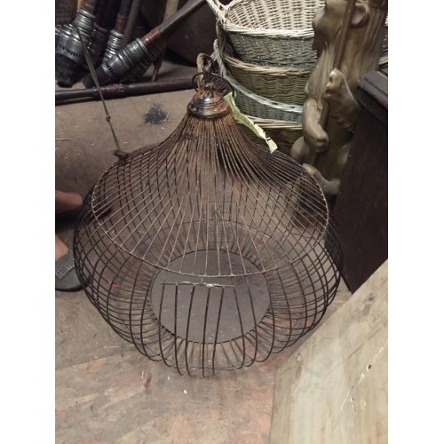 Round Aged Iron Bird Cage