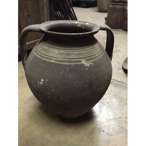 Dark Earthenware Pot with 2 Handles