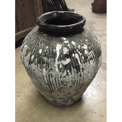 Aged Glazed Earthenware Pot