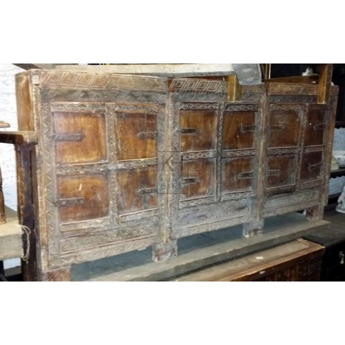 Carved wood narrow cupboard chest