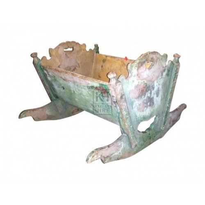 Aged painted wood cradle
