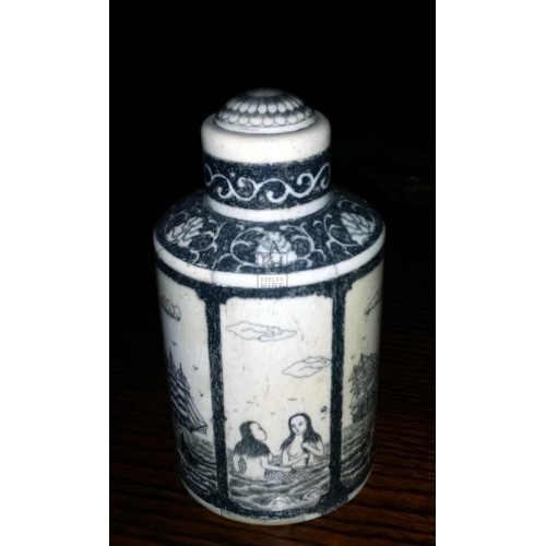 Small scrimshaw jar