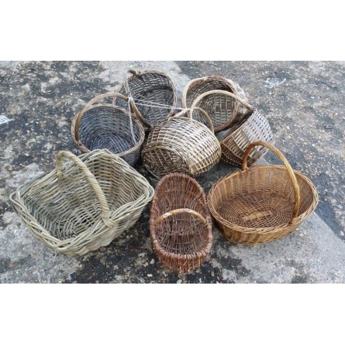Assorted wicker hand baskets