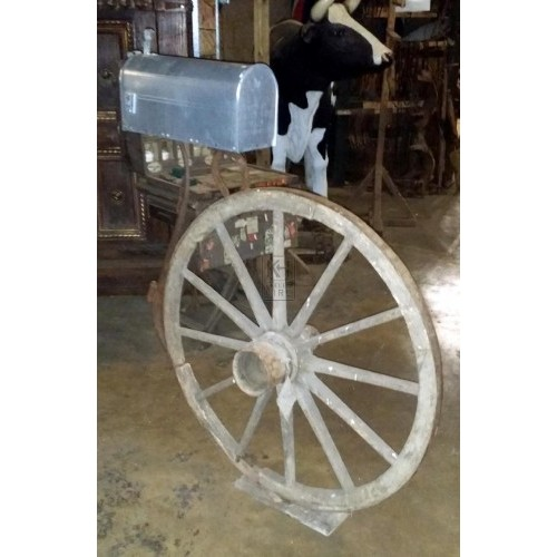 US Mail box on large cart wheel