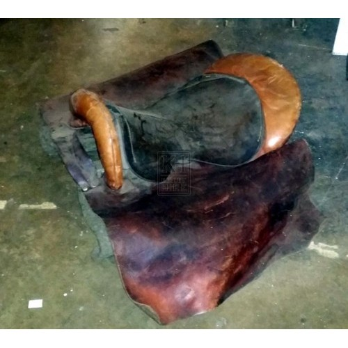 Brown & black plain leather saddle