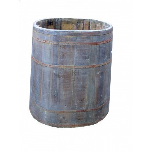 Large oval wood barrel