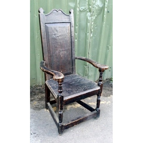 Dark polished wood chair with arms