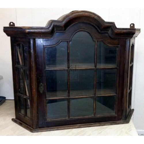 Shaped polished wall display cabinet