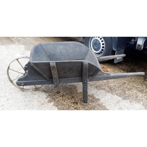 Wood wheelbarrow with iron wheel
