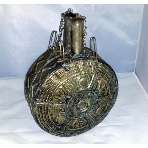 Silver ornate water flask
