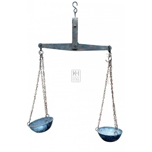 Hanging iron scales with bowls