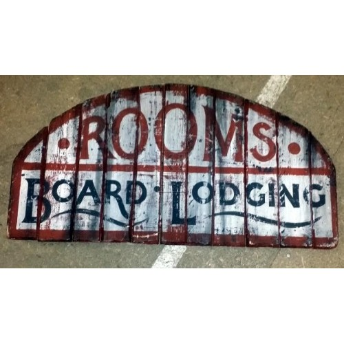 Wood painted Rooms Board Lodging sign