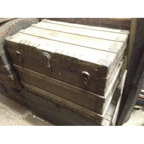 Wooden Slatted Chest with Ironwork