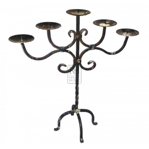 5-branch iron table candleholder