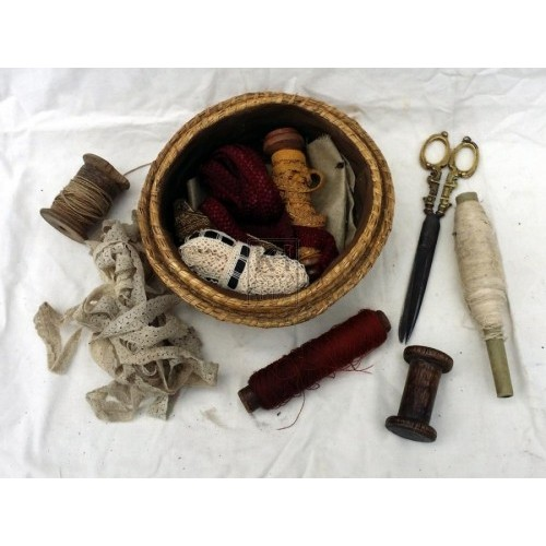 Embroidery basket with contents