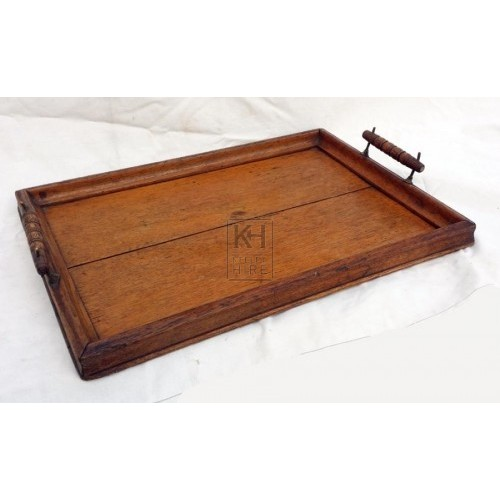 Wood serving tray with handles