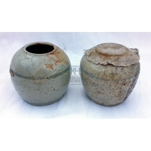 Small dumpy ceramic jar