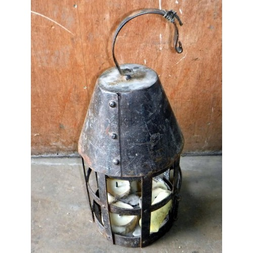Large iron lantern with door