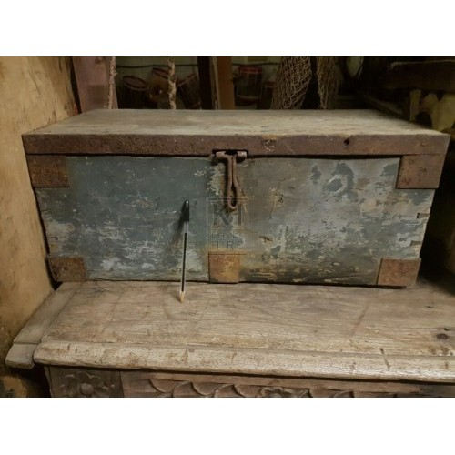 Rusty Flat Top Wood Chest