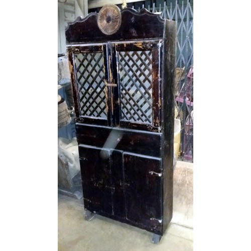 Lattice front dark wood cupboard