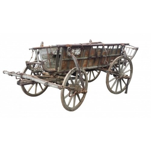 Large slatted 4-wheel farm cart
