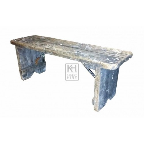 Low rough wood bench