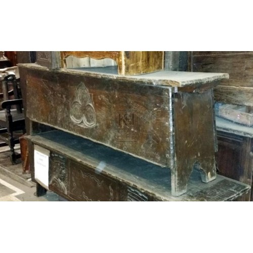 Long dark wood coffer chest with clover