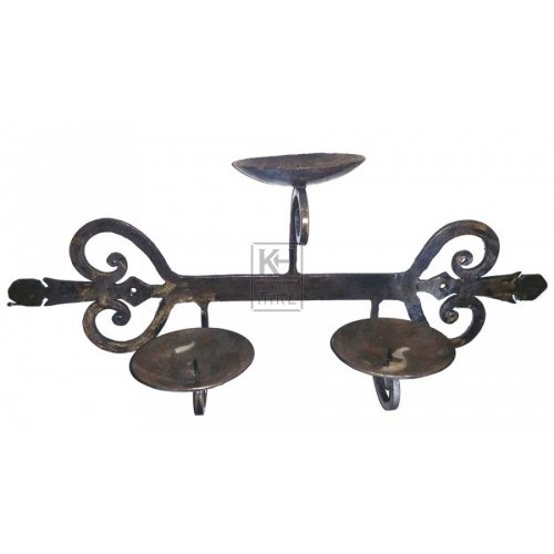 Ornate iron wall triple candle holder