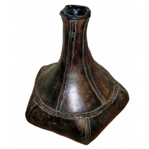 Shaped tall neck leather bottle