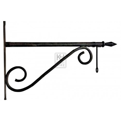 Pointed iron bracket with scrolls