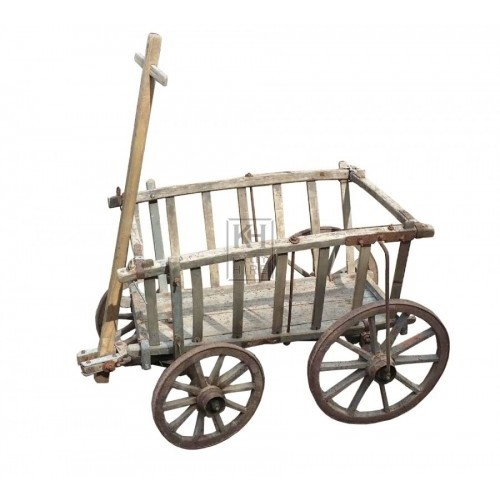 Small slatted 4-wheel cart