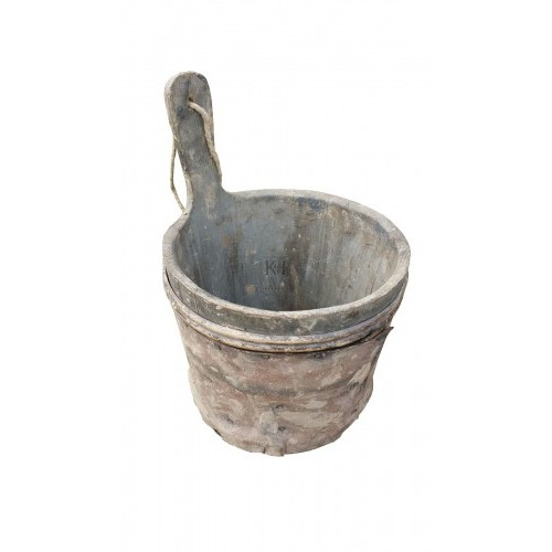 Small wood tub with handle