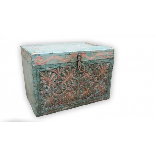Carved painted flat top trunk