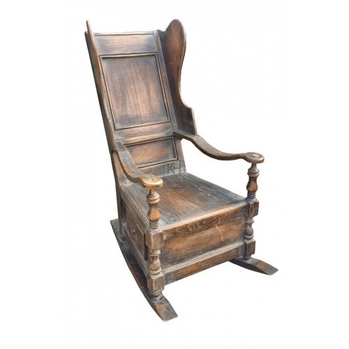 Dark wood large rocking chair