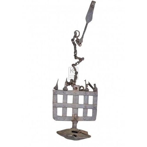 Hanging iron oil lamp on chain
