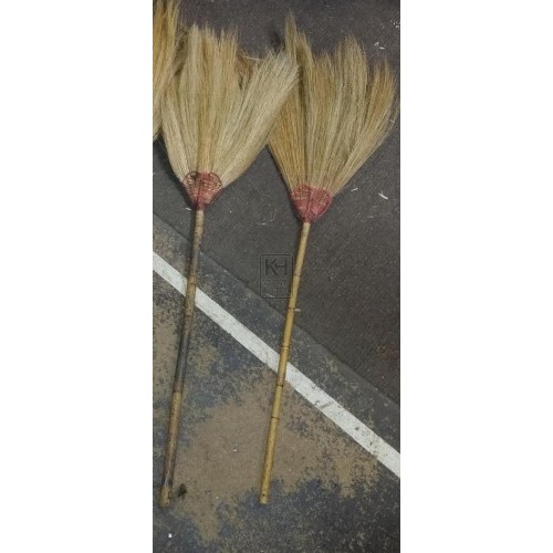 Straw broom with cane handle