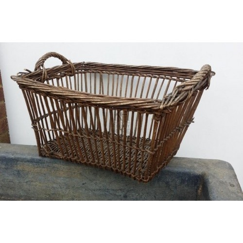 Rectangle slatted wicker basket & handle