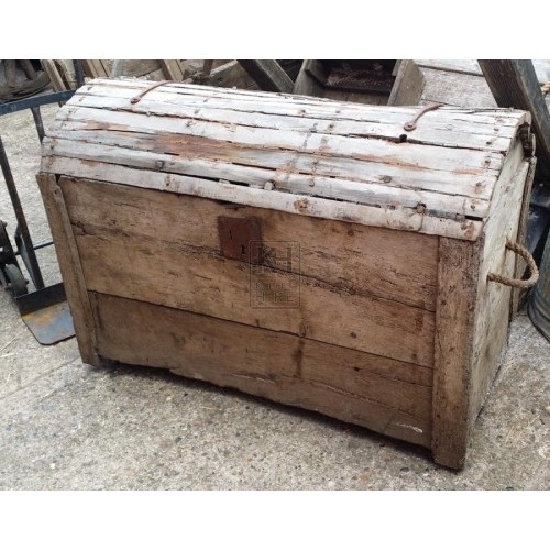 Large wood dome chest with rope handles