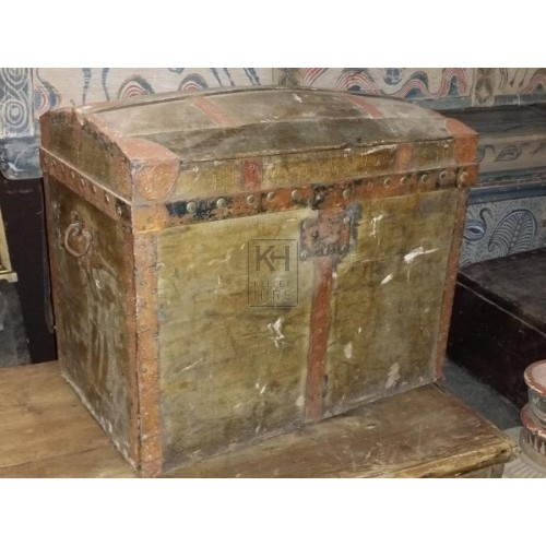 Period dome trunk with iron handles