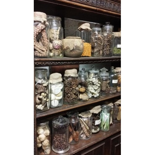 Assorted chemist bottles with contents