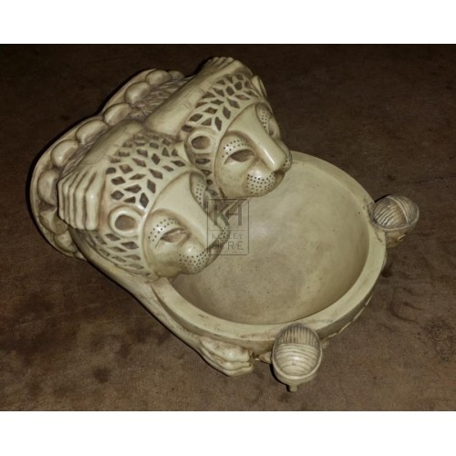 Cream Resin Double Lion Bowl
