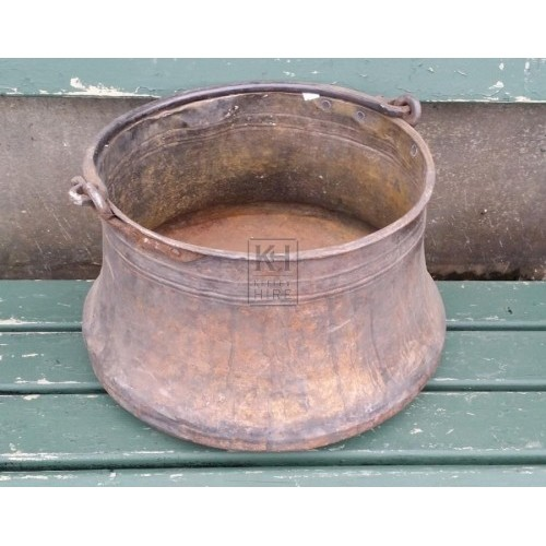 Large grubby copper cooking pot